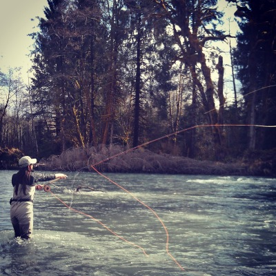 spey casting/woman fly-fishing/steelhead/swinging flies